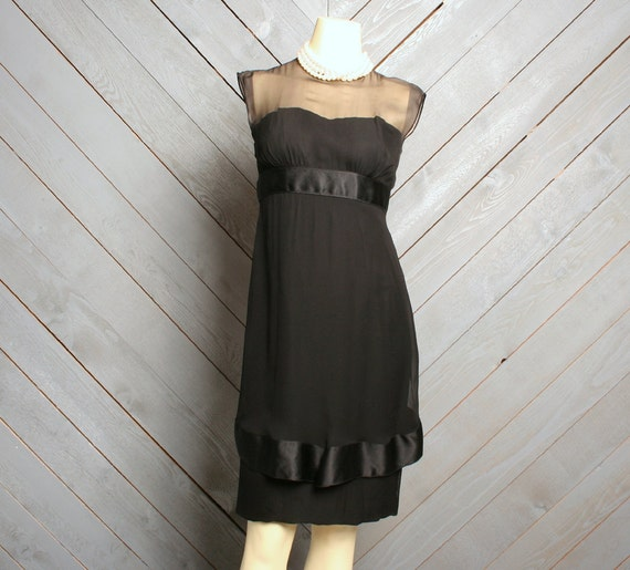 1960s NUDE Illusion Wiggle DRESS / Sheer Layers & Bows, xs - s...RESERVED