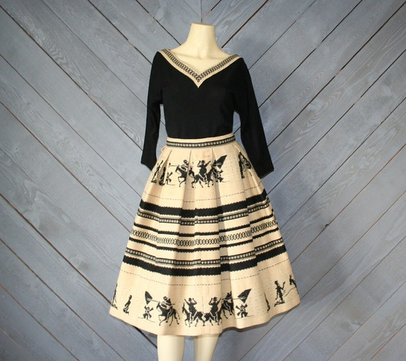 1950s Novelty DON QUIXOTE / 2pc Wool Dress Set, xs-s