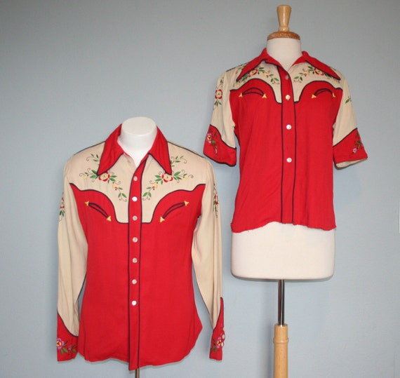 50s-60s WESTERN SHIRTS / His & Hers Rayon Gab Stagewear
