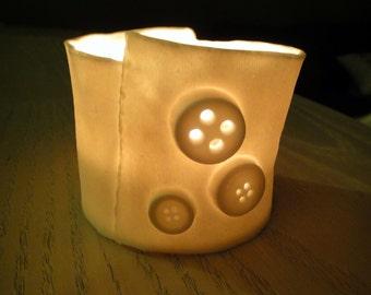 "Translucent Porcelain ""Shirt cuff"" Buttons & seams tea-light / votive holder"