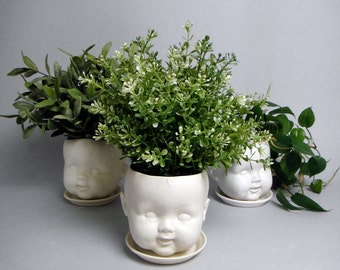 Porcelain Baby doll head planter /or candy dish