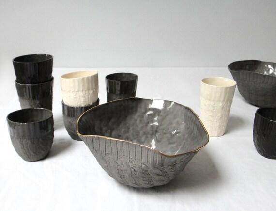 Grey Cable-knit Ceramic serving bowl- 16K gold edge