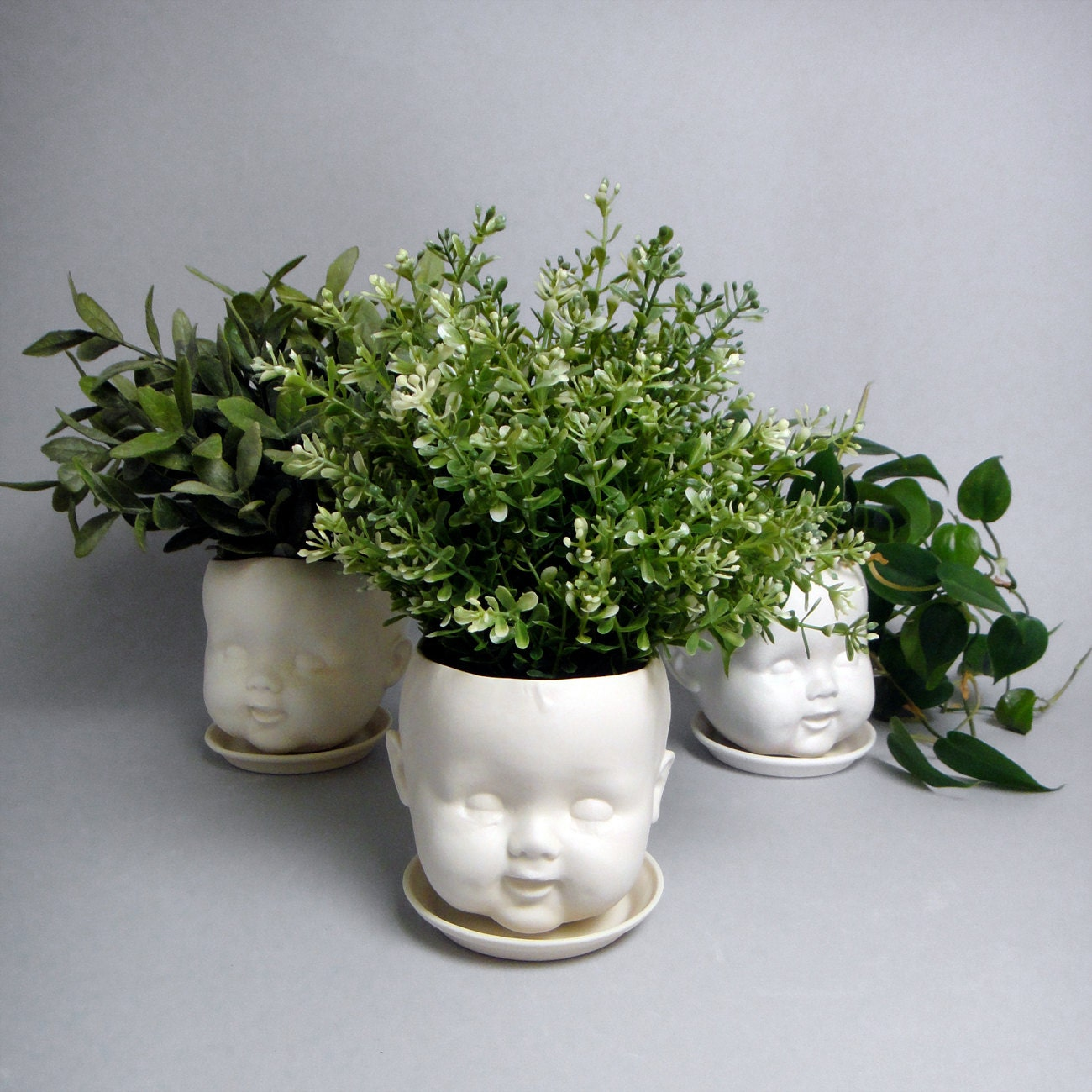Porcelain Baby Doll Head Planter Or Candy Dish Hairline