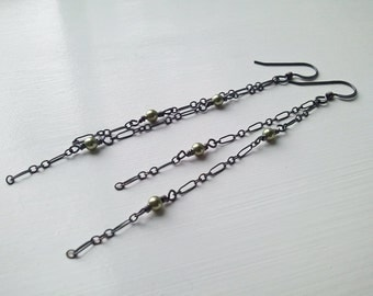 Oxidized Sterling Silver Chains with Sage Green Swarovski Crystal Pearl Earrings by Quintessential Arts