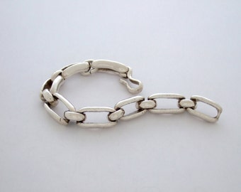 Large BENT LINK Bracelet in Sterling Silver