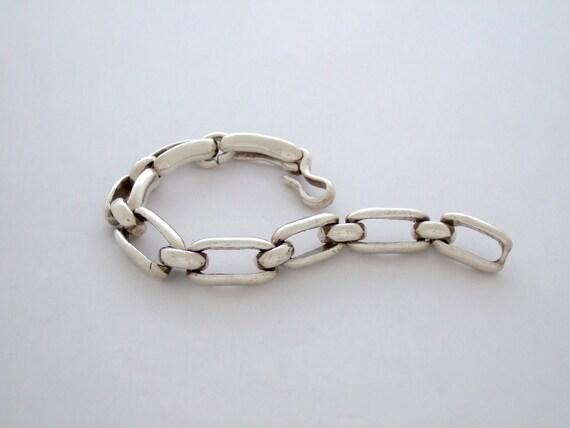 Large BENT LINK Bracelet in Sterling Silver
