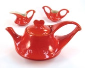 Modern Art Deco Red Orange Teapot with Sugar and Creamer