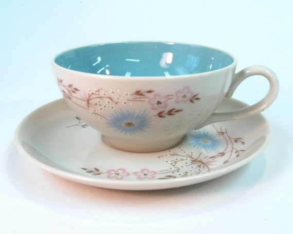 Mid Century Teacup and Saucer Taylorton Echo Dell Pattern on Retroburgh