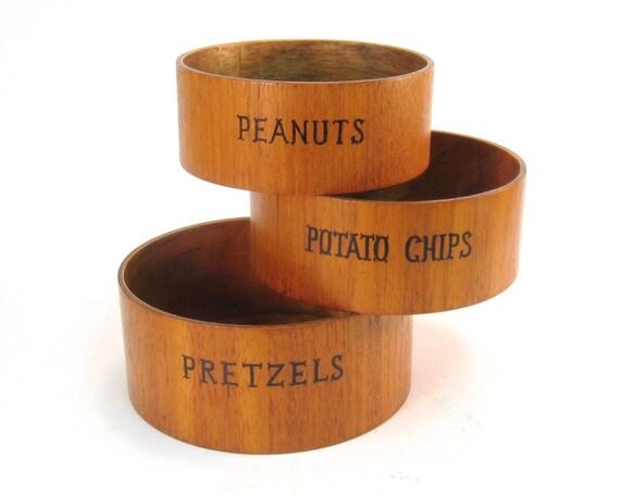 Vintage Pretzel, Chip, and Nut Wood Serving Bowls
