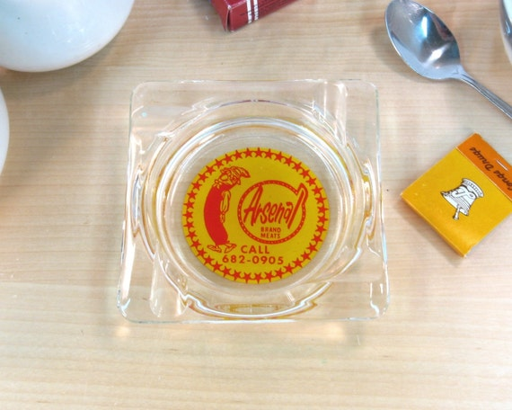 Vintage Advertising Ashtray Glass Ashtray Retro Red And