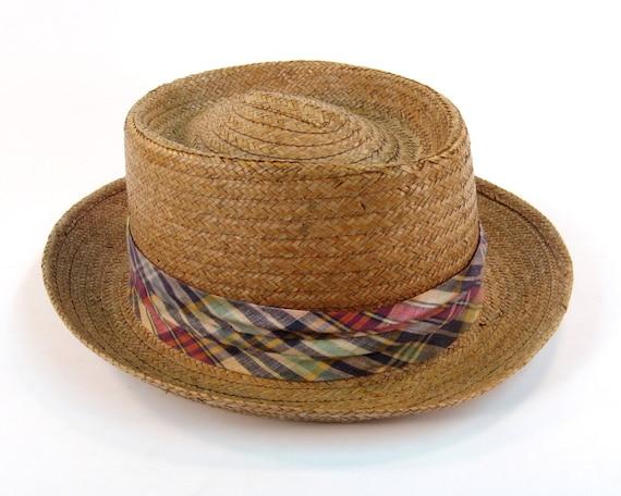 Men S Vintage Hat 1960s Straw Hat Size 7 1 4 Made In