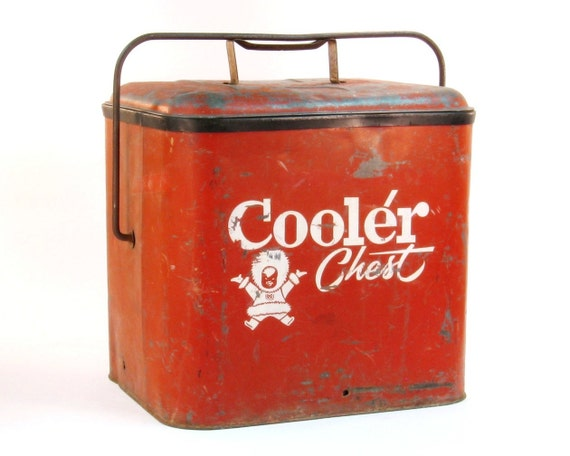 Vintage 1950's Red Metal Cooler Chest with Bottle Opener / Industrial Mantique