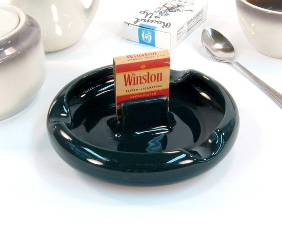 Mid Century Modern Vintage Ashtray / Hall Pottery with Match Holder / Forest Green