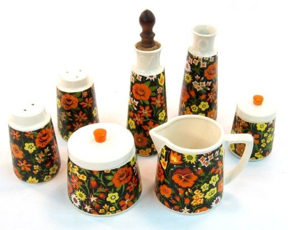 Vintage Cream and Sugar Set / Salt and Pepper / Oil and Vinegar Set Napcoware Import Japan