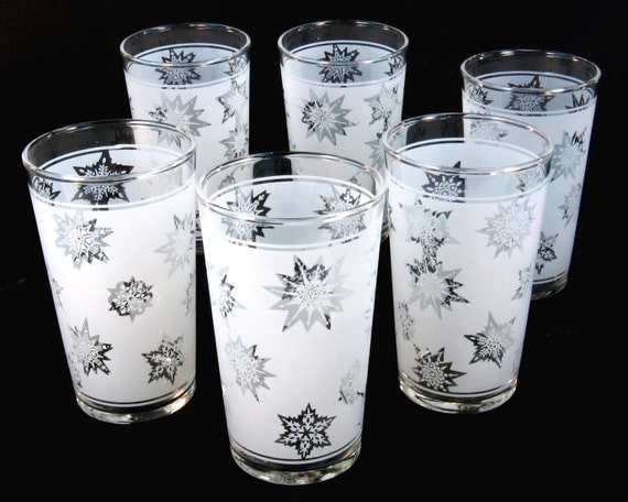 Vintage Snowflake Drinking Glasses by Federal Glass / Set of Six