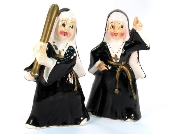 Vintage Made in Japan Nun Set -- Nun with a Baseball Bat