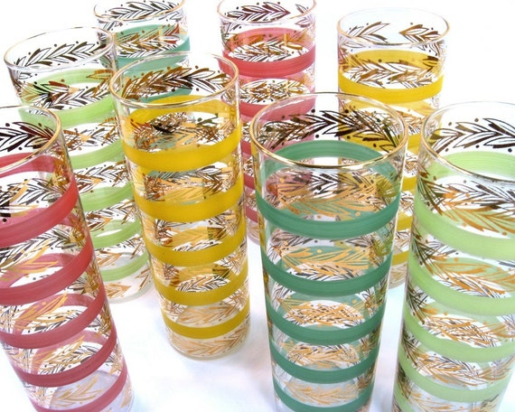 Mid Century Cocktail Glasses Multi Color / Set of Eight / Mad Men Cocktail Party