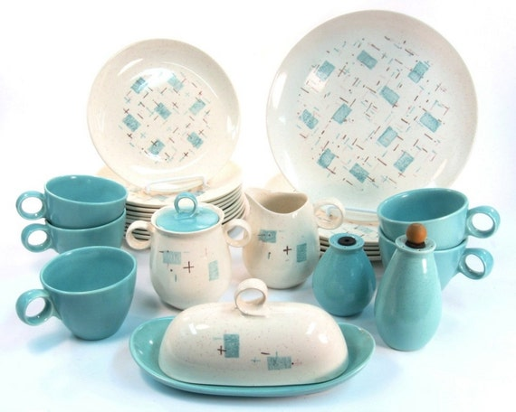 Vernonware Heavenly Days Dinnerware Set / Butter Dish / Cream and Sugar / 1950s Aqua Blue