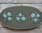 Hand Embroidered Wool Felt Oval Hoop Art sage aqua pale grey