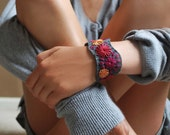 Felt Bracelet Hand Embroidered Cuff Embroidery Pewter Grey Wool Felt with Magenta Orange Red Stitching by lovemaude