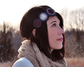 Felt Headband - Hand Embroidered Wool Felt Headband with Cranberry and  Pale Pink Stitching by lovemaude