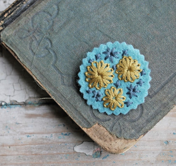 The Ruthie Pin Hand Embroidered Wool Felt in Aqua Blue Mustard Yellow Pewter Grey
