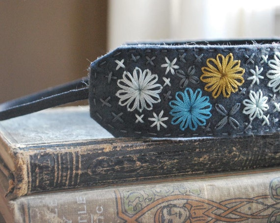 Wide Felt Headband in Slate Blue Wool with Turquoise, Light Blue and Mustard Yellow Hand Embroidery by lovemaude