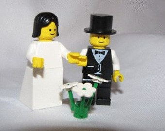 Lego BRIDE / GROOM Wedding Minifig Cake Topper Black Hair
