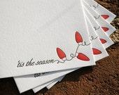 6 Holiday Lights Holiday Cards, modern holiday lights design (letterpress printed)