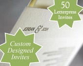 Custom designed letterpress printed wedding invites and response cards, set of 50. eco friendly