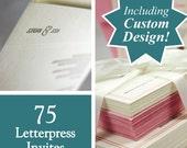 Custom designed letterpress printed wedding invites, set of 75. eco friendly