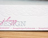 Custom business cards, or calling cards (1 color and blind impression), set of 200. eco friendly, custom designed
