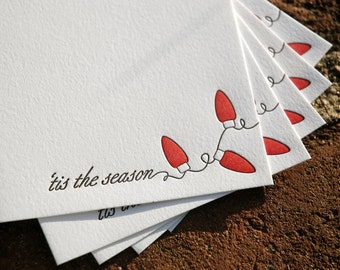 6 Holiday Lights Holiday Cards, modern holiday lights design (letterpress printed)