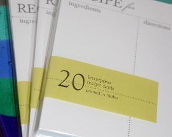 Refill Set of 40 Recipe Cards, modern design (Letterpress printed)