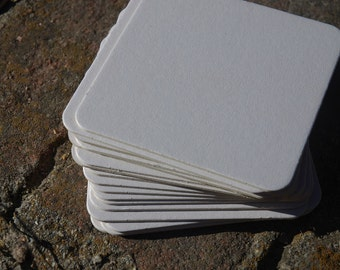 25 Blank 3.5 inch square Coasters, heavyweight. Perfect for letterpress, crafts, etc