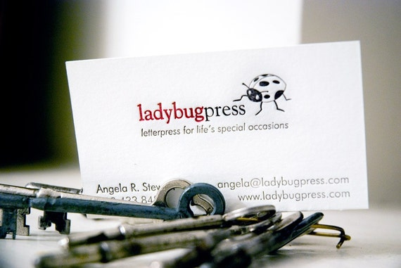 Custom DIY letterpress printed business cards, (1 color and blind impression on 220 pound lettra), set of 100 or 200. eco friendly