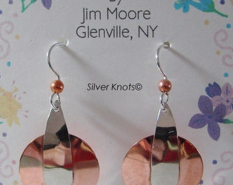 Copper and Nickle Silver Earrings.Handcrafted and Unique