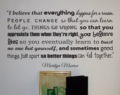 Marilyn Monroe quote removable wall vinyl -I Believe Better Things- Big