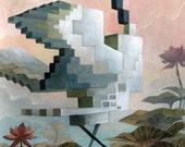 Animal Pixel Series - Crane - 10 x 14.5 print
