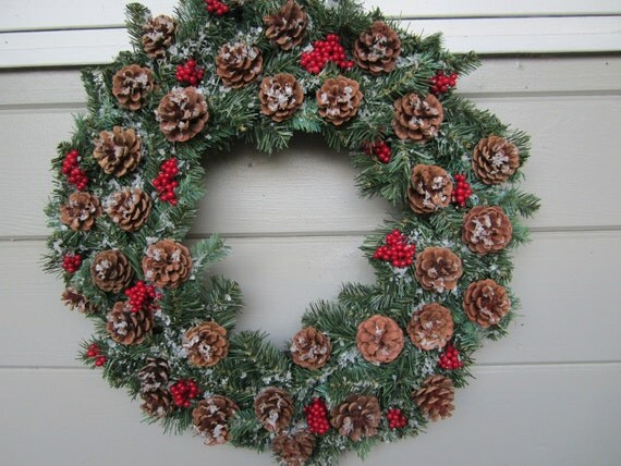 Winter Wreath, Pine Cone Wreath, Christmas Wreath, Rustic Winter Wreath, Rustic Christmas Wreath