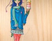 """11"""" x 17"""" poster print of acrylic painting on wood- """"Ice Cream Tower"""""""