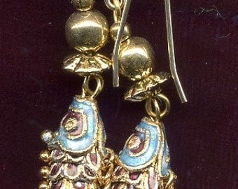 Chinese Cloisonne articulated mauve & turquoise Fish with 9ct Hypo-Allergenic Gold