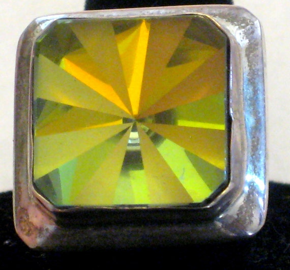 Vintage Yellow Ring Austrian Crystal Prism