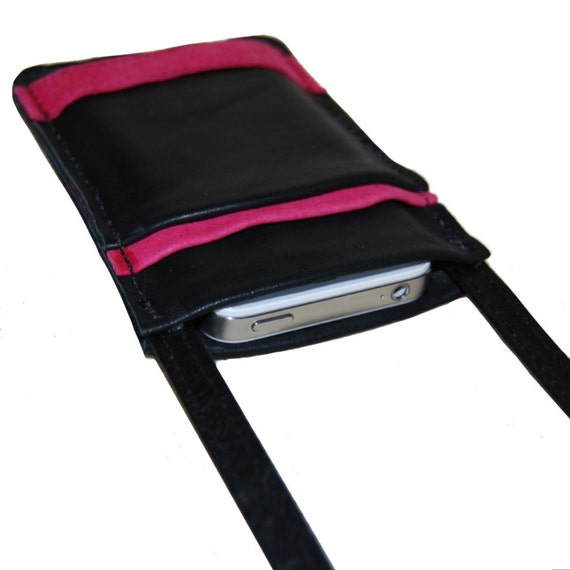 Phone Case Crossbody Purse Black and Pink Leather