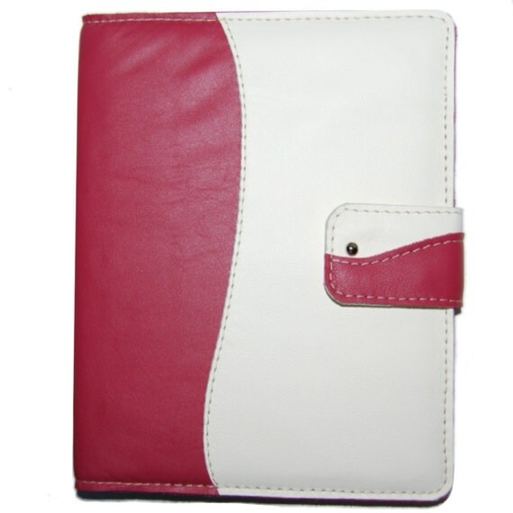 iPad 3 Case Raspberry Pink and Cream Leather Handmade Leather iPad Case