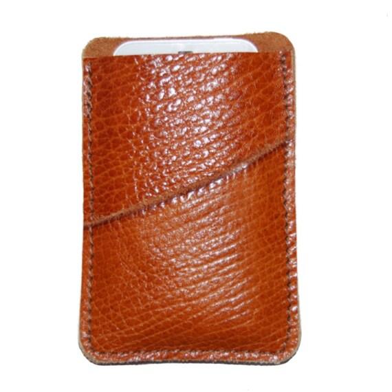 Leather iPhone Case Sleeve Large Pebble Grain Leather Mahogany
