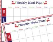 Printable Weekly Meal Planner - Cherry Themed Printable Shopping LIst PDF - Binder, Planner, Organizer