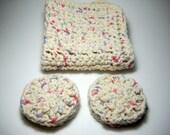 Crochet Washcloth Facial Pad Set All Cotton