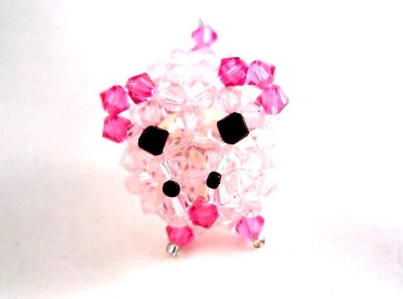 Pink Pig Miniature Figurine In Swarovski Crystals