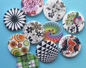 20 Painted Wood Buttons Extra Large Assorted Designs BUT159-20